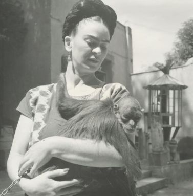 "Frida Kahlo and her beloved monkey Caimito de Guayabal pose for a photograph together for famed photographer Fritz Henle in 1943. The Mexican artist frequently featured her pet monkey, which in Mexican mythology is a symbol of lust, in her paintings, including her iconic piece ""Self-Portrait with Thorn Necklace and Hummingbird."" From New York Daily News."