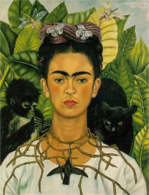 """Frida Kahlo, """"Self-Portrait with Thorn Necklace and Hummingbird"""", 1940"""