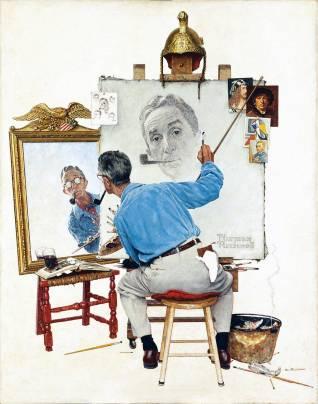 """""""Triple Self Portrait"""", Norman Rocwell, Feb 13, 1960"""